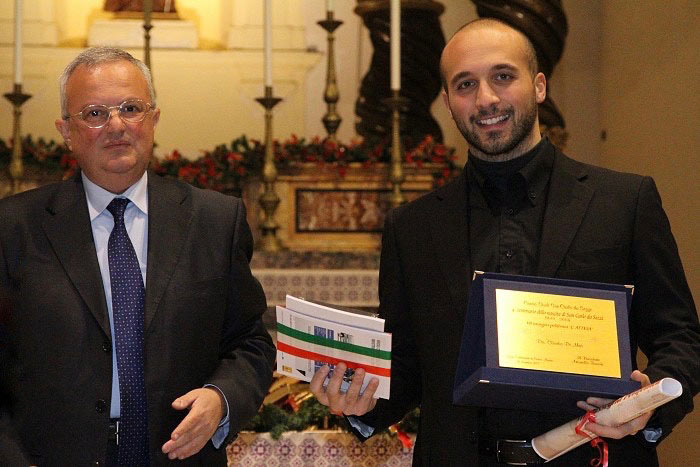 "Claudio Di Meo receiving First Prize at the ""National Choir Conducting Competition 2011"", Italy."
