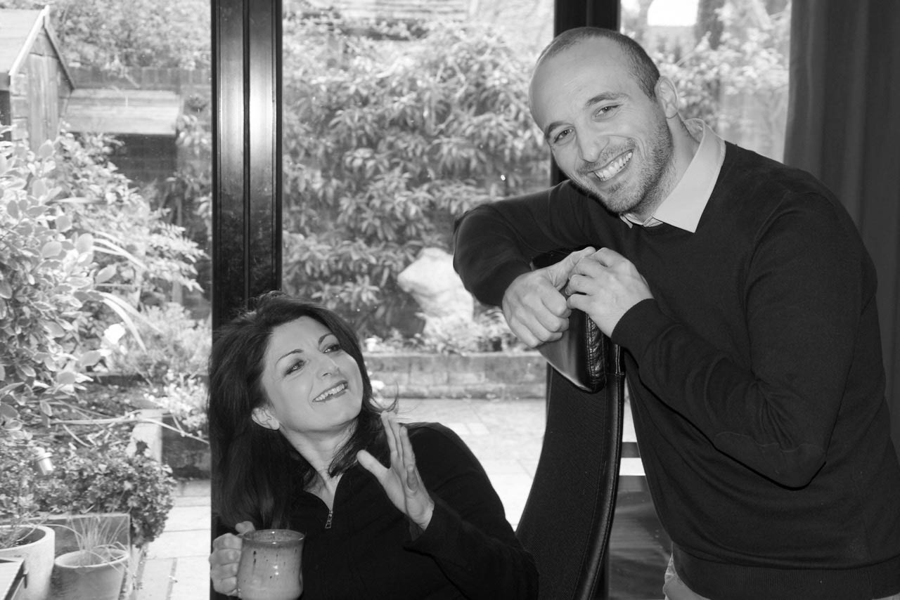Claudio Di Meo and Federica Nardacci during recording session of CD piano duet